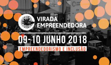 Na imagem, ilustração com a data da Virada Empreendedora 2018, que acontece dias 09 e 10 de junho.