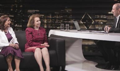 Janete Vaz (esquerda) e Sandra Costa (direita) durante gravação do Estudo de Caso do meuSucesso, em conversa com Sandro Magaldi
