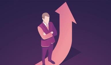 Na imagem, ilustração de Growth Hacker de terno e preparado para fazer a empresa crescer.
