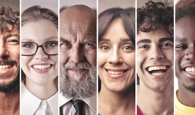 Na imagem, vemos diferentes tipos de rostos que representam personas distintas