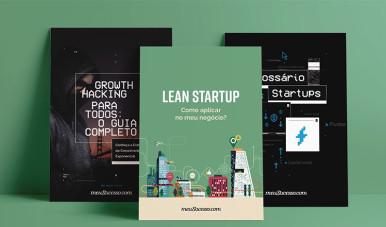 Na imagem, os três guias de startup do meuSucesso:Lean Startup, Growth Hacking, Glossário.