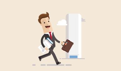 Ilustração de empreendedor andando na rua.