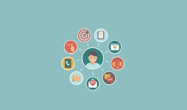 Na imagem, ilustração uma pessoa com vários ícones ao lado.