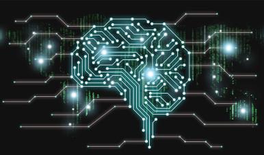 Na imagem, vemos uma montagem que retrata um cérebro feito de microchips que fazem relação com a ideia de inteligência artificial.